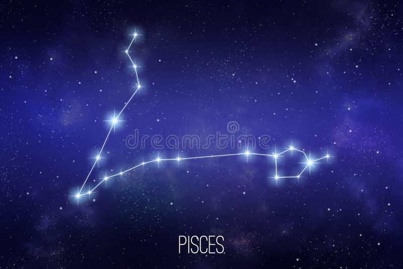 Ilustração da constelação do zodíaco dos Peixes ilustração stock