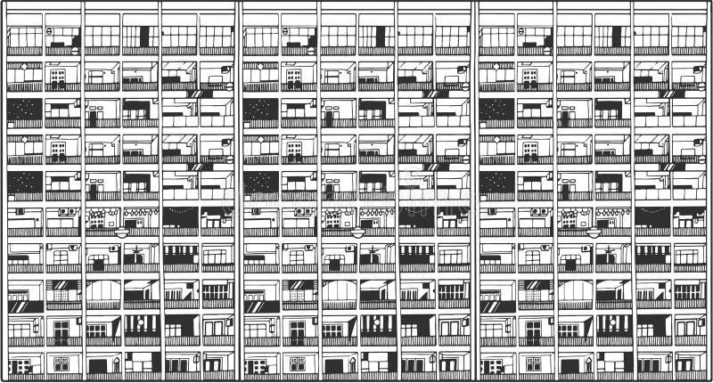 Ilustração da construção comercial e residencial asiática ilustração stock