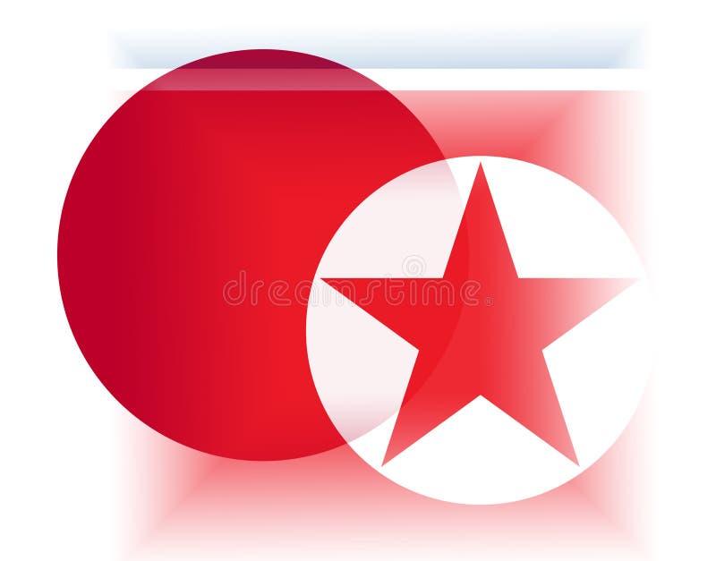 Ilustração da cooperação 3d de Japão e de Coreia do Norte ilustração stock