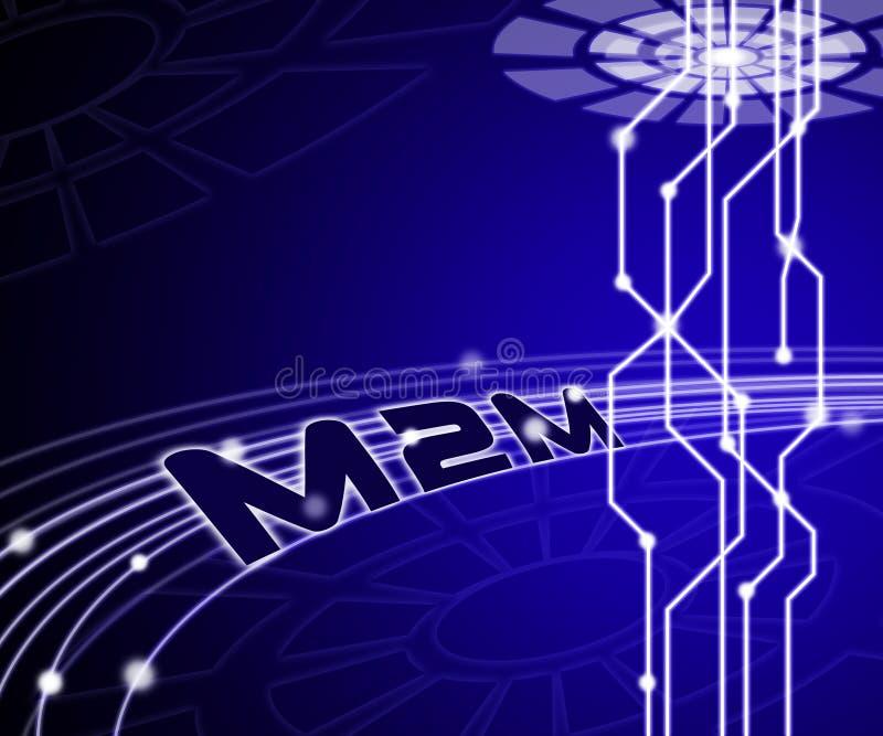 Ilustração da cooperação 3d de M2M Machine Connectivity And ilustração royalty free
