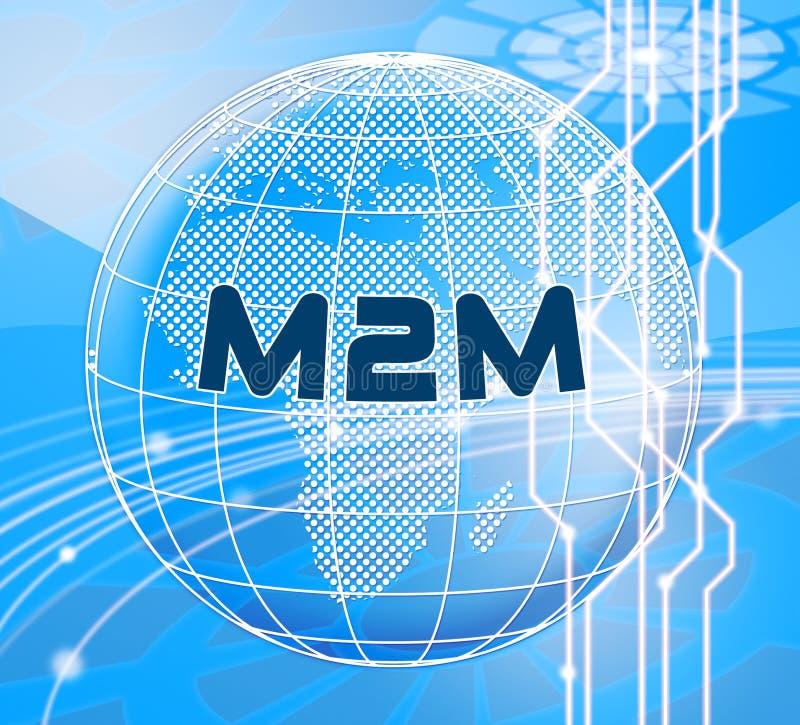 Ilustração da cooperação 3d de M2M Machine Connectivity And ilustração do vetor