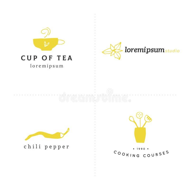 Ilustração da cozinha e do alimento Objetos coloridos tirados mão do vetor Moldes do logotipo ajustados ilustração royalty free