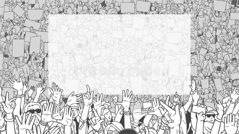 Ilustração da demonstração dertailed do protesto da multidão com a grande bandeira vazia ilustração stock