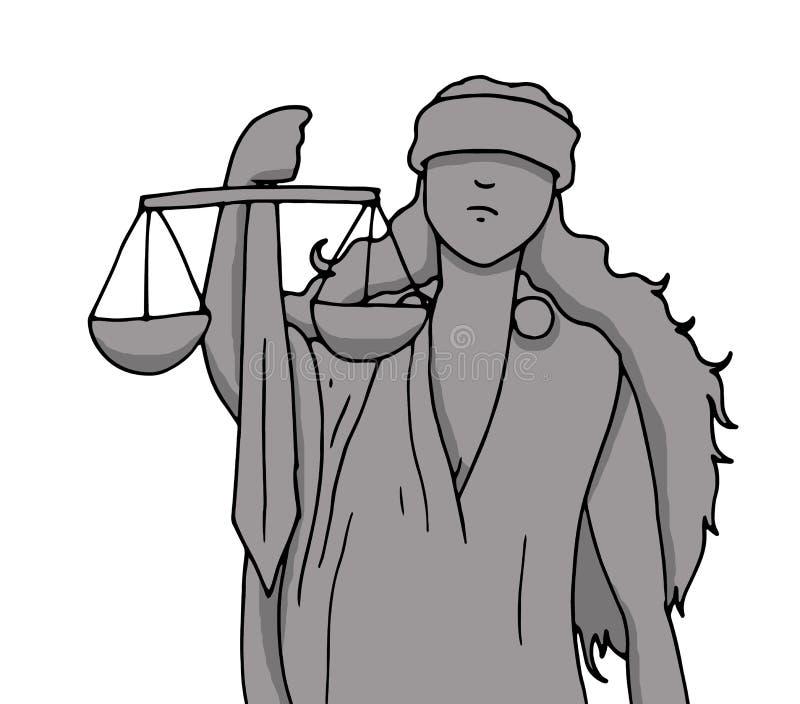 Ilustração da deusa de justiça com o símbolo do equilíbrio e da espada guardados com sua mão quando for vendada os olhos ilustração do vetor