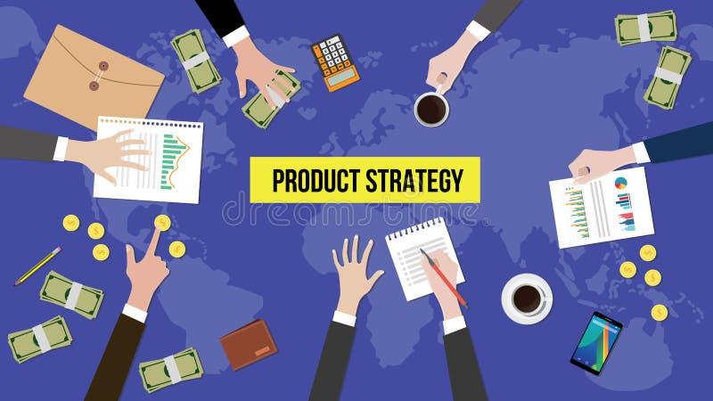 Ilustração da discussão do conceito da estratégia do produto com documentos, papel moeda e moedas sobre a tabela ilustração do vetor