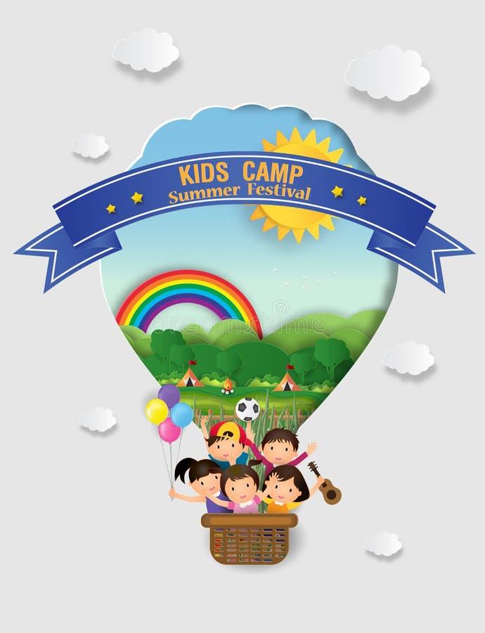 Ilustração da educação do acampamento de verão das crianças com balão O ch ilustração stock