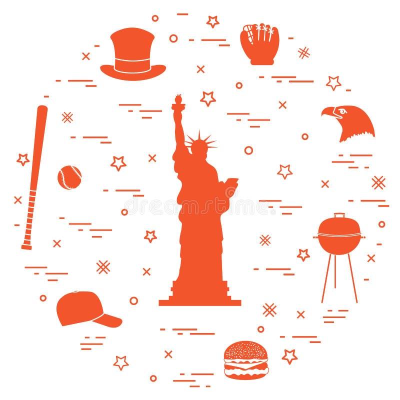 Ilustração da estátua da liberdade, cabeça da águia, estrelas, Hamburger, ilustração stock