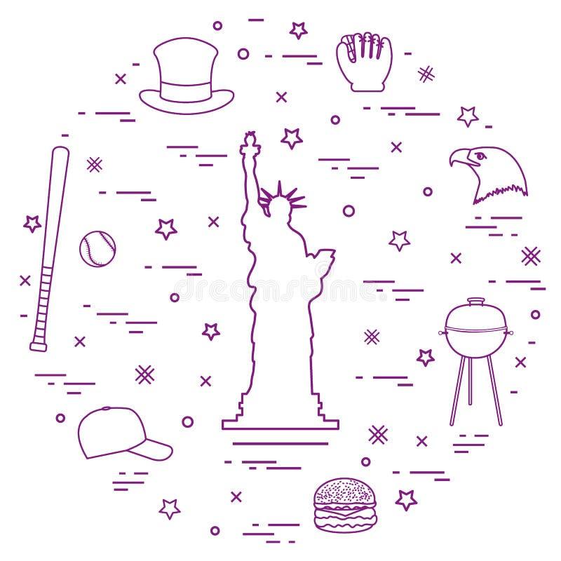 Ilustração da estátua da liberdade, cabeça da águia, estrelas, Hamburger, ilustração royalty free