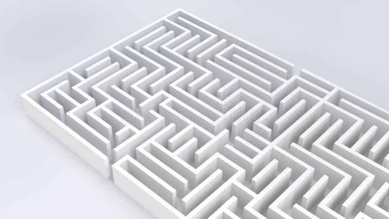 Ilustração da estratégia 3D do desafio do negócio do labirinto do labirinto ilustração royalty free