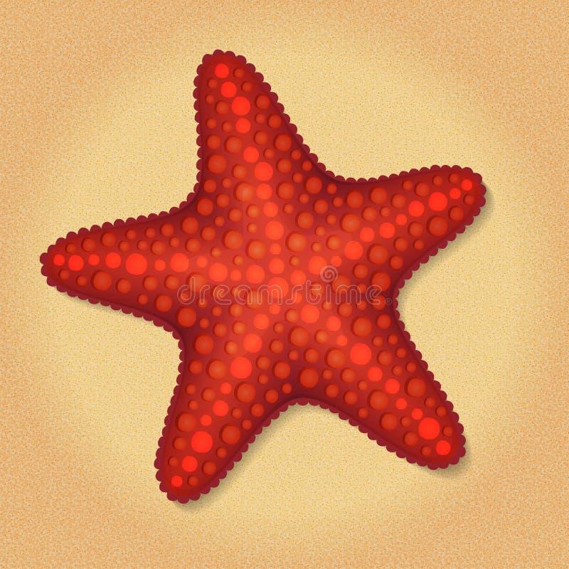 Ilustração da estrela de Mar Vermelho no fundo da areia da praia ilustração do vetor