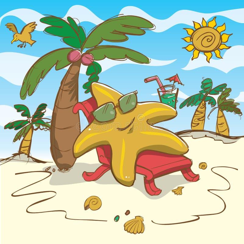 Ilustração da estrela do mar dos desenhos animados do vetor que relaxa na praia ilustração stock