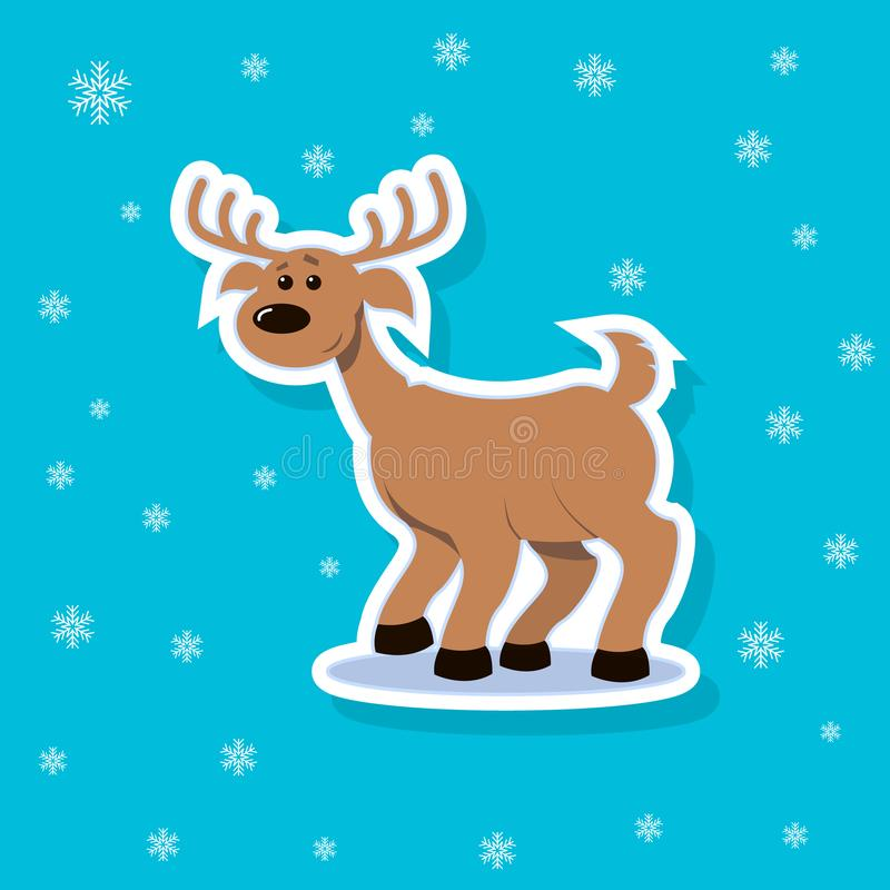Ilustração da etiqueta de um cervo alegre dos desenhos animados lisos da arte ilustração stock