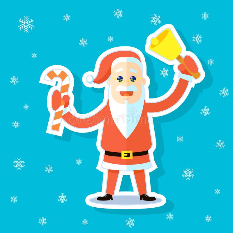 Ilustração da etiqueta de uns desenhos animados lisos Santa Claus da arte com bastão de doces ilustração stock