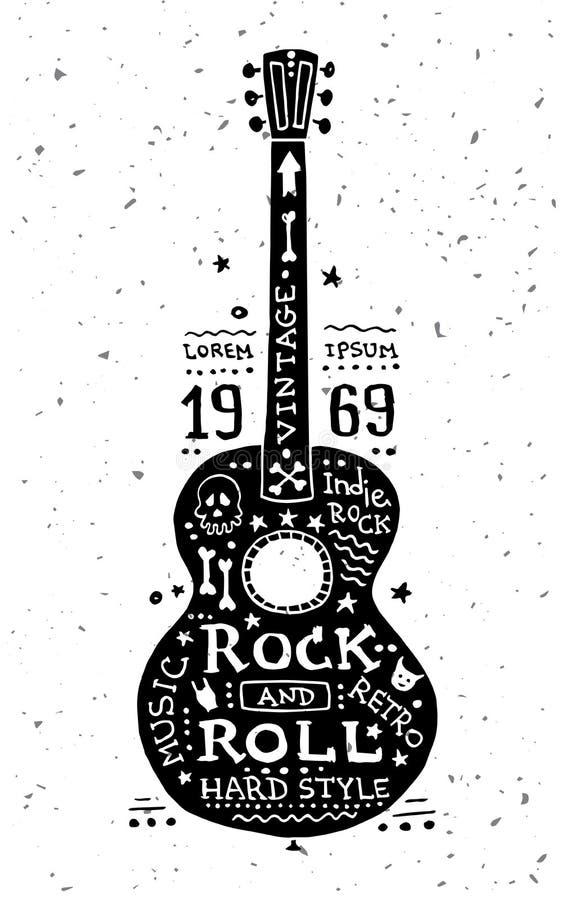 Ilustração da etiqueta do grunge do vintage com guitarra ilustração royalty free
