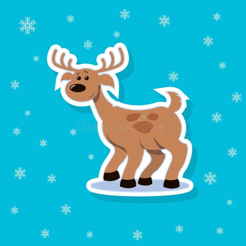 Ilustração da etiqueta do vetor de um cervo liso dos desenhos animados da arte com pontos ilustração stock