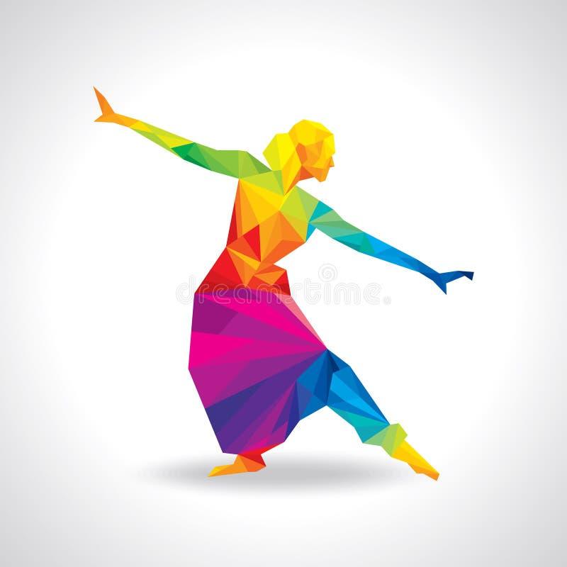 Ilustração da execução clássica indiana do dançarino ilustração do vetor