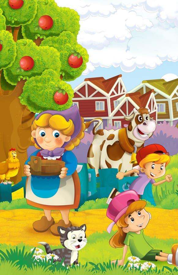 A ilustração da exploração agrícola para crianças - muitos elementos diferentes ilustração do vetor