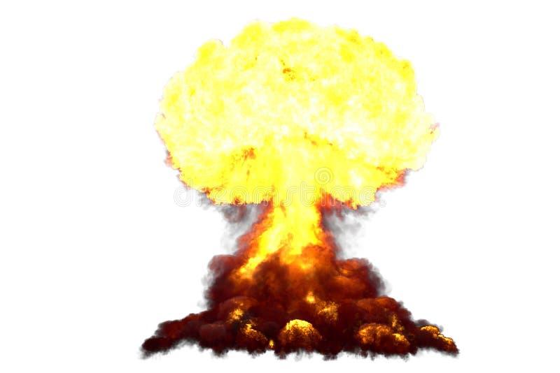 A ilustração da explosão 3D da explosão altamente detalhada enorme do cogumelo atômico com olhares do fogo e do fumo gosta da bom ilustração stock