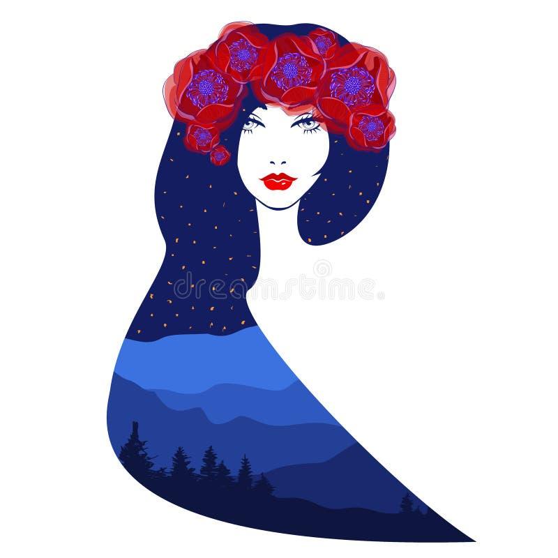 Ilustração da exposição dobro do vetor Mulher bonita ilustração royalty free