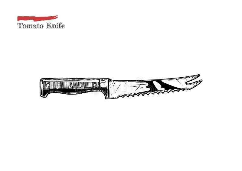 Ilustração da faca do tomate ilustração do vetor
