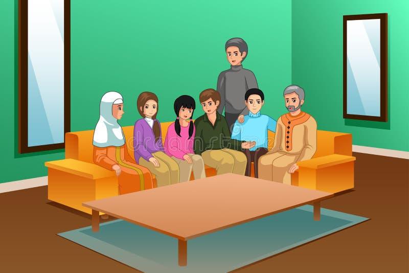 Ilustração da família em casa ilustração stock