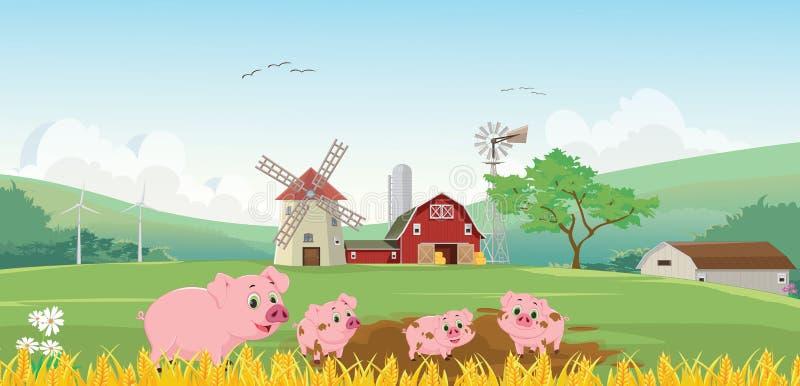 Ilustração da família feliz do porco na exploração agrícola ilustração stock