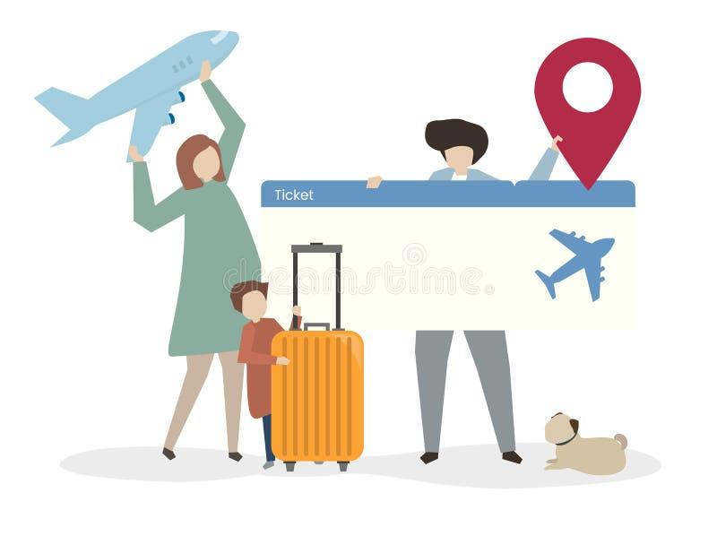 Ilustração da família que viaja junto ilustração royalty free