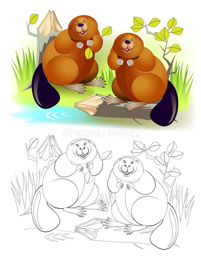 Ilustração da fantasia dos pares bonitos dos castores que roem o tronco de árvore Página colorida e preto e branco para o livro p ilustração do vetor