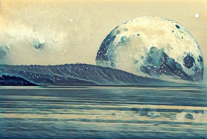 Ilustração da fantasia - paisagem de um planeta estrangeiro - lua enorme ilustração royalty free