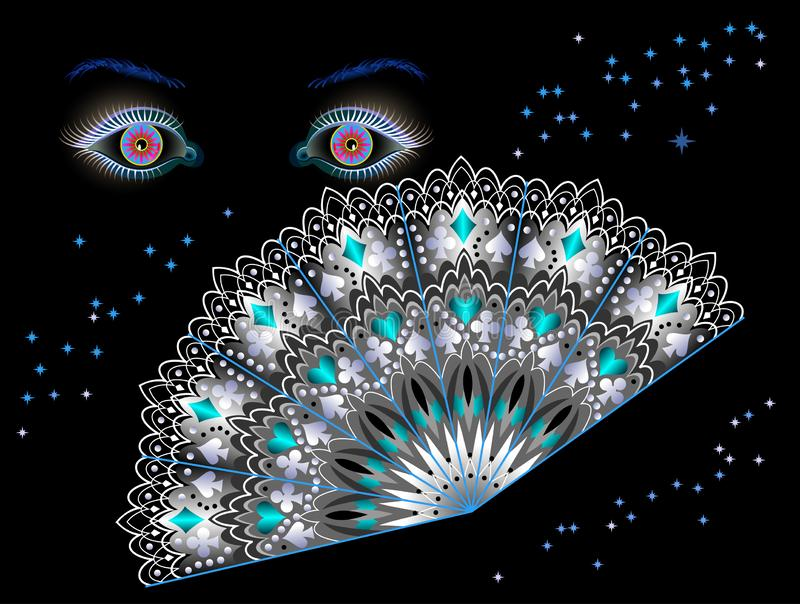 Ilustração da fantasia para o cartaz para salões de beleza ou o clube noturno de predição da fortuna Olhos e fã fabulosos na noit ilustração stock