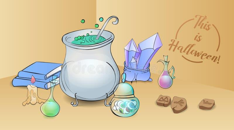 Ilustração da fermentação da bruxa que arma com uma poção que fabrica cerveja no canto, no livro da receita, nas runas, e nos ing ilustração do vetor