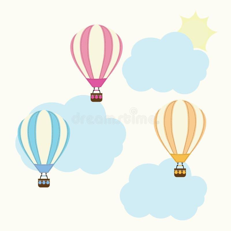 Ilustração da festa do bebê com os balões de ar quente bonitos, a nuvem, e o sol apropriado para o grupo e o clipart da etiqueta  ilustração stock