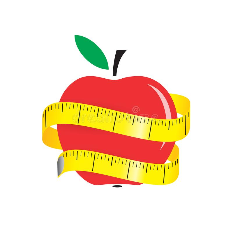 Ilustração da fita de medição em torno da maçã vermelha fresca Faça dieta o conceito Ilustração do vetor ilustração stock