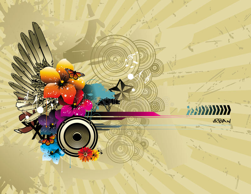 Ilustração da flor e da asa da cor ilustração stock
