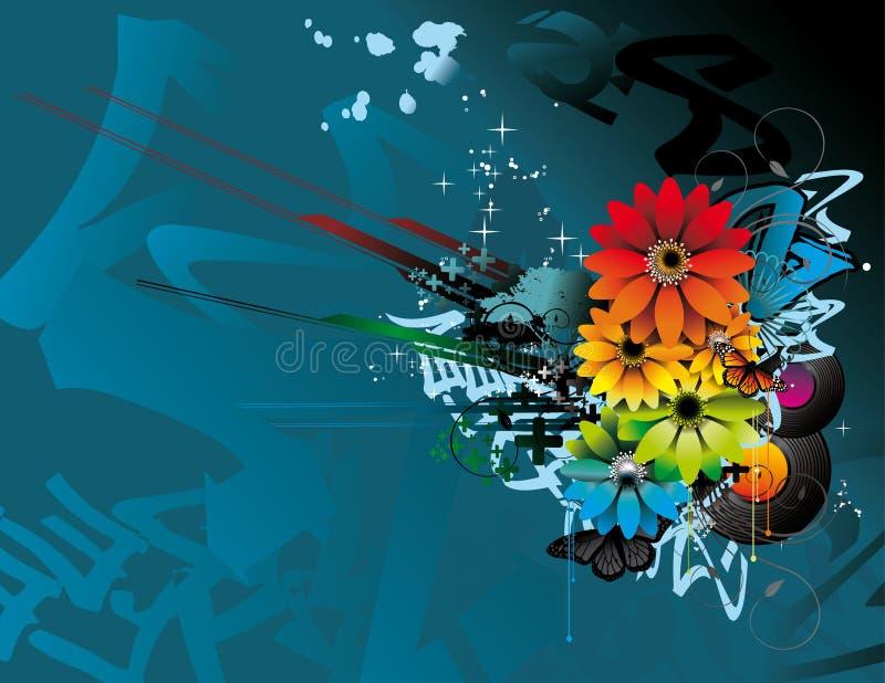 Ilustração da flor e da borboleta da cor ilustração stock