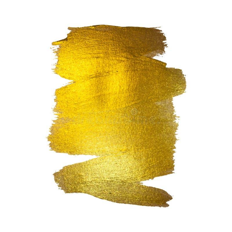 Ilustração da folha de ouro Curso de brilho abstrato da escova da mancha da pintura da textura da aquarela para você projeto de d ilustração royalty free