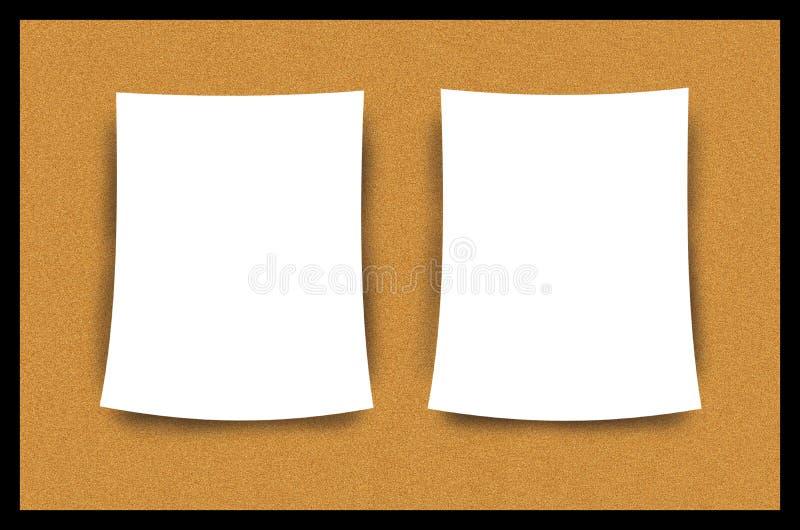 Ilustração da folha do papel em branco de placa de boletim da cortiça ilustração stock