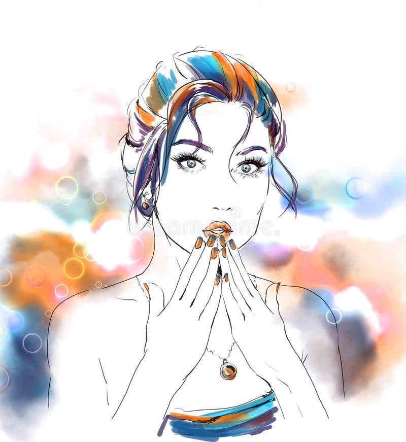 Ilustração da forma da aquarela com menina bonita ilustração royalty free