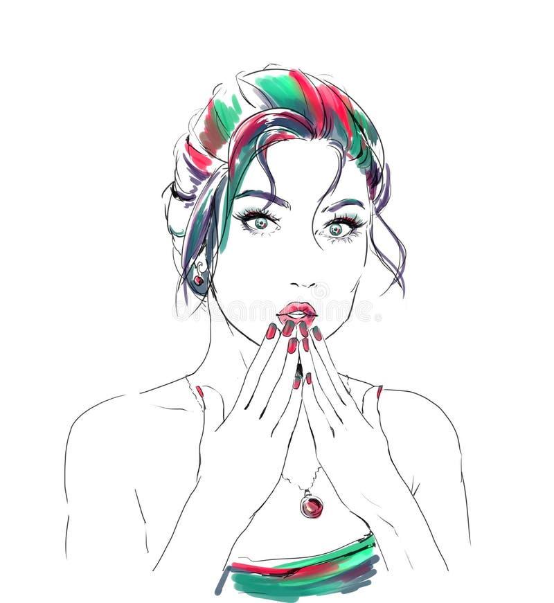 Ilustração da forma da aquarela com menina bonita ilustração stock