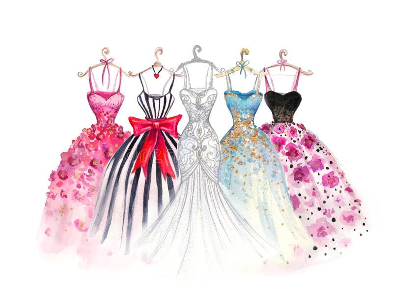 Ilustração da forma da aquarela Vestidos elegantes o vestido de mulheres elegantes ilustração royalty free