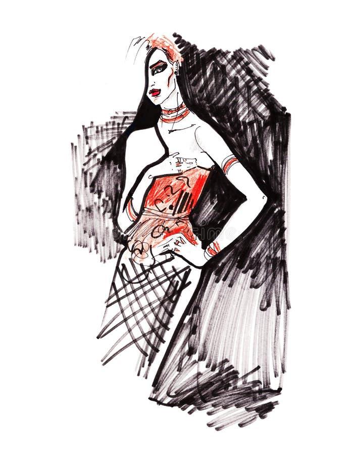 Ilustração da forma Beleza, encanto Jovem mulher bonita à moda Esboço desenhado mão ilustração do vetor