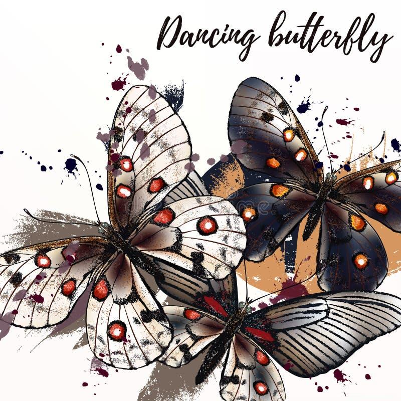 Ilustração da forma da borboleta com borboletas ilustração royalty free
