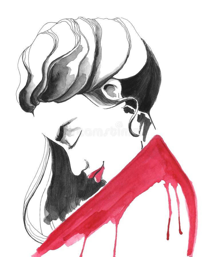 Ilustração da forma de uma menina no vermelho ilustração stock