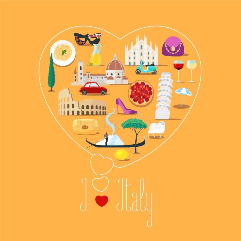 Ilustração da forma do coração com citações de Itália do amor de I ilustração stock