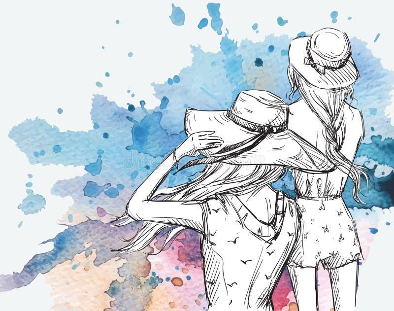 Ilustração da forma Meninas nos chapéus em um fundo da aquarela ilustração do vetor