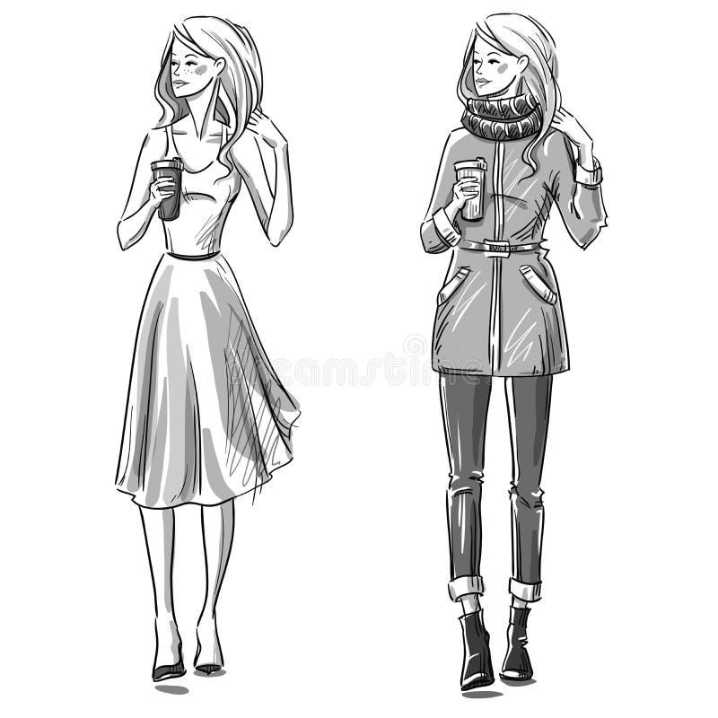 Ilustração da forma Olhar do inverno e do verão ilustração do vetor