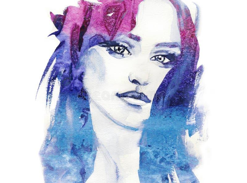 Ilustração da forma watercolor Face da mulher ilustração stock