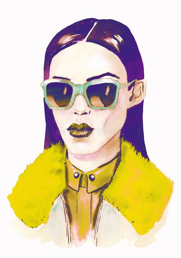 Ilustração da forma watercolor Menina do moderno com vidros Retrato da mulher elegante bonita ilustração stock
