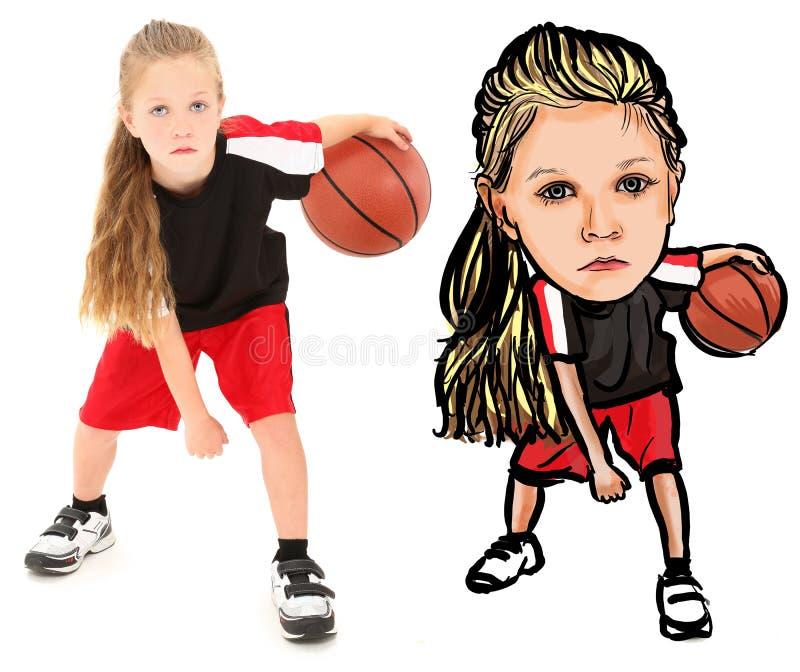 Ilustração da fotografia da criança com basquetebol ilustração royalty free