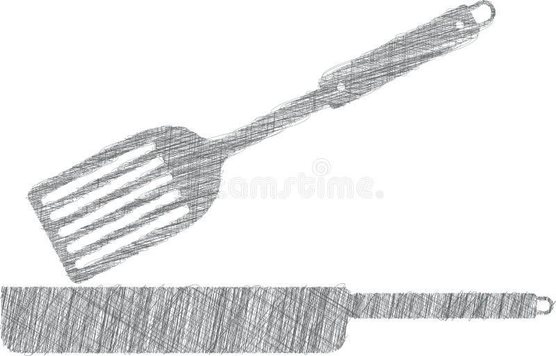 Ilustração da frigideira, utensílios da cozinha ilustração do vetor